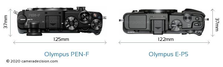 Olympus PEN-F vs Olympus E-P5 Camera Size Comparison - Top View