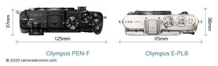 Olympus PEN-F vs Olympus E-PL8 Camera Size Comparison - Top View