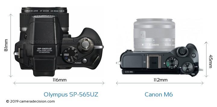 Olympus SP-565UZ vs Canon M6 Camera Size Comparison - Top View