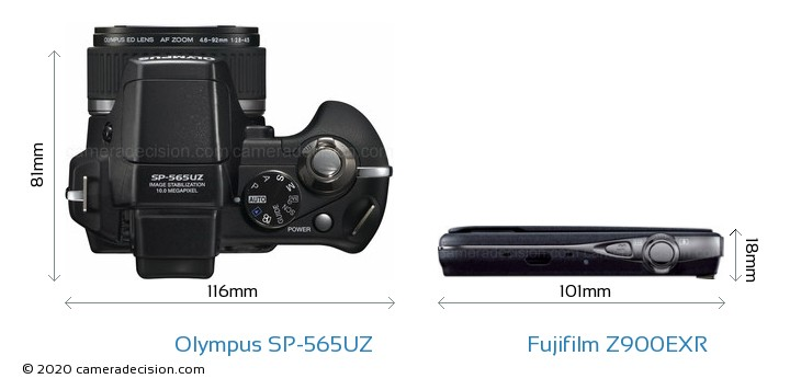 Olympus SP-565UZ vs Fujifilm Z900EXR Camera Size Comparison - Top View
