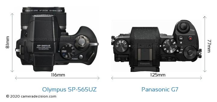 Olympus SP-565UZ vs Panasonic G7 Camera Size Comparison - Top View