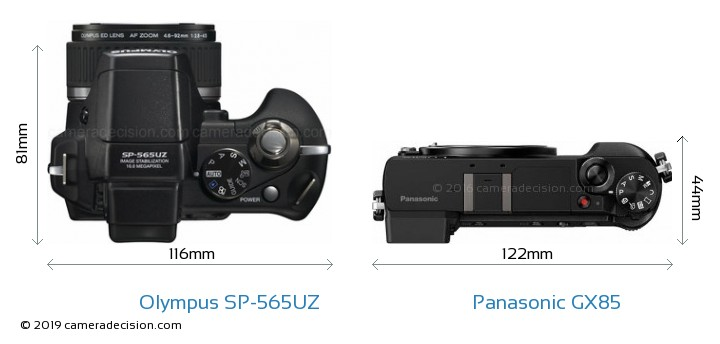 Olympus SP-565UZ vs Panasonic GX85 Camera Size Comparison - Top View