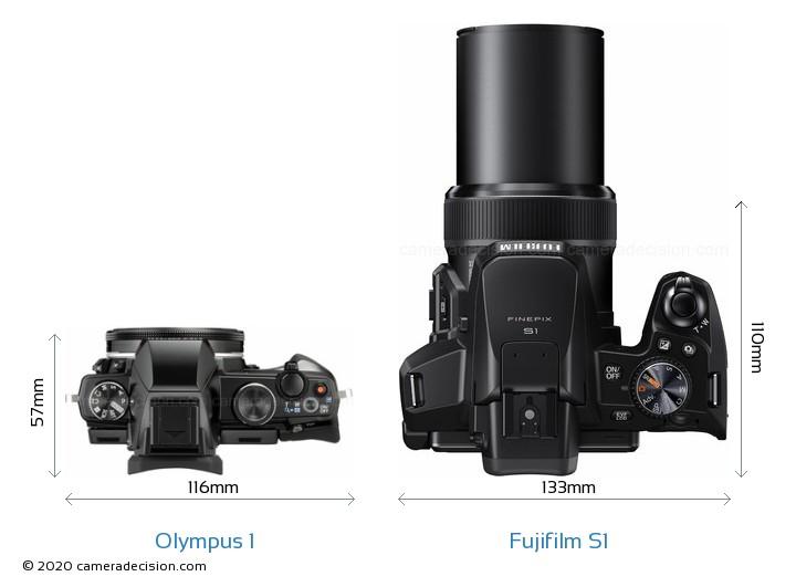 Olympus 1 vs Fujifilm S1 Camera Size Comparison - Top View