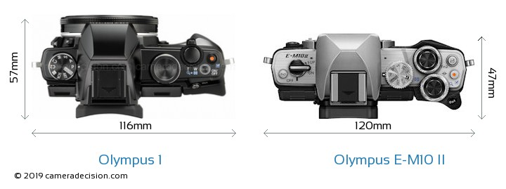 Olympus 1 vs Olympus E-M10 II Camera Size Comparison - Top View