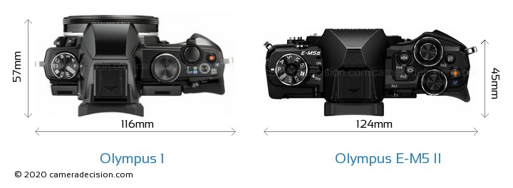 Olympus 1 vs Olympus E-M5 II Camera Size Comparison - Top View
