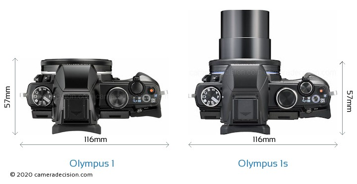 Olympus 1 vs Olympus 1s Camera Size Comparison - Top View
