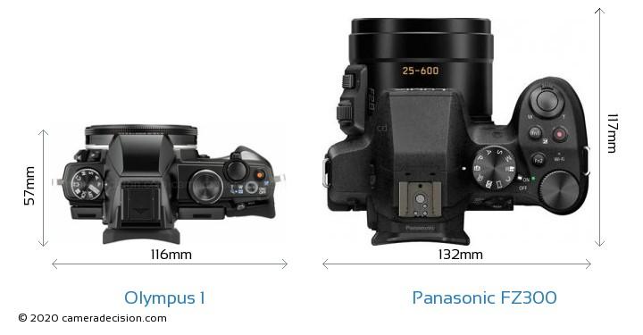 Olympus 1 vs Panasonic FZ300 Camera Size Comparison - Top View