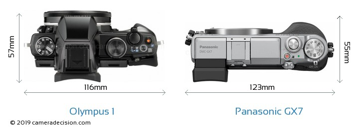 Olympus 1 vs Panasonic GX7 Camera Size Comparison - Top View