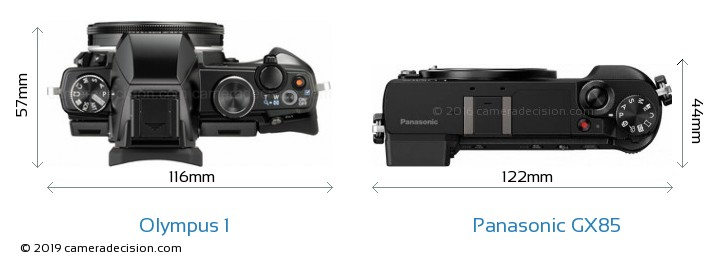 Olympus 1 vs Panasonic GX85 Camera Size Comparison - Top View