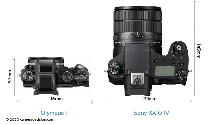 Olympus 1 vs Sony RX10 IV Camera Size Comparison - Top View