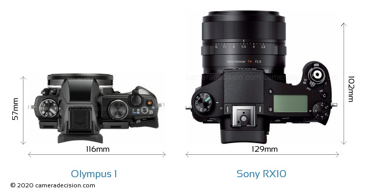 Olympus 1 vs Sony RX10 Camera Size Comparison - Top View