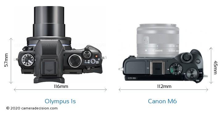 Olympus 1s vs Canon M6 Camera Size Comparison - Top View