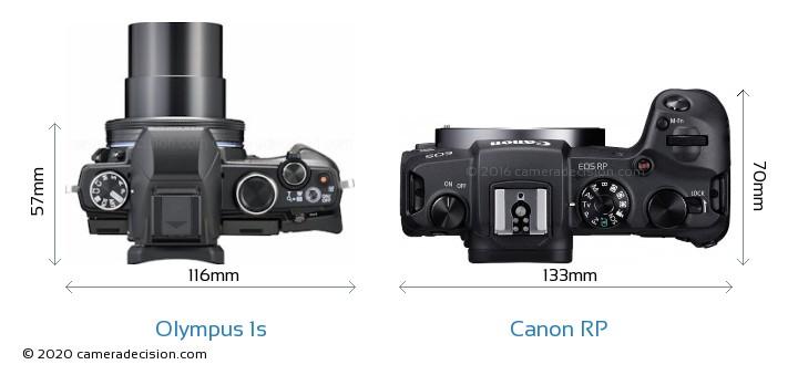 Olympus 1s vs Canon RP Camera Size Comparison - Top View