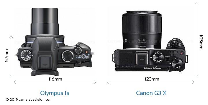 Olympus 1s vs Canon G3 X Camera Size Comparison - Top View