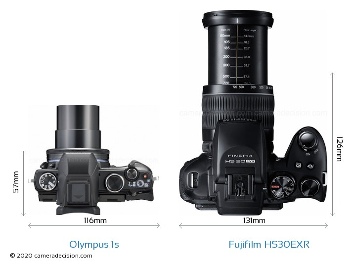 Olympus 1s vs Fujifilm HS30EXR Camera Size Comparison - Top View