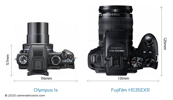 Olympus 1s vs Fujifilm HS35EXR Camera Size Comparison - Top View