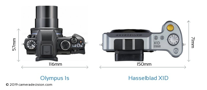 Olympus 1s vs Hasselblad X1D Camera Size Comparison - Top View