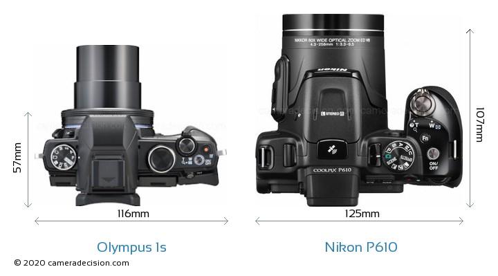 Olympus 1s vs Nikon P610 Camera Size Comparison - Top View