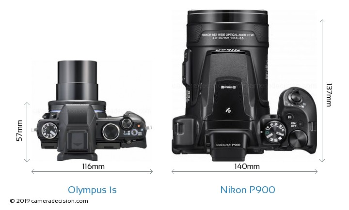 Olympus 1s vs Nikon P900 Camera Size Comparison - Top View