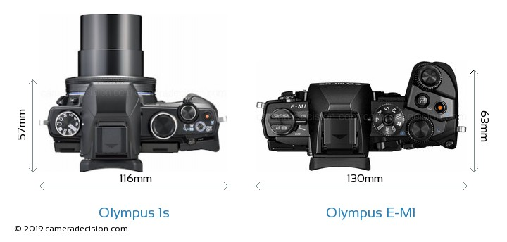 Olympus 1s vs Olympus E-M1 Camera Size Comparison - Top View