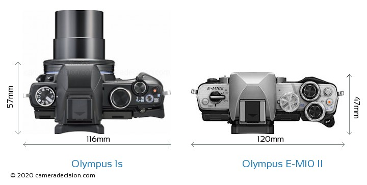 Olympus 1s vs Olympus E-M10 II Camera Size Comparison - Top View