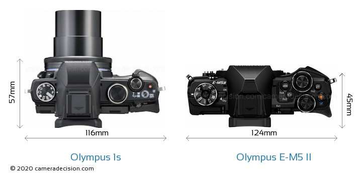 Olympus 1s vs Olympus E-M5 II Camera Size Comparison - Top View