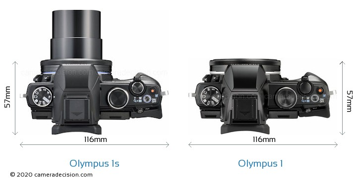 Olympus 1s vs Olympus 1 Camera Size Comparison - Top View