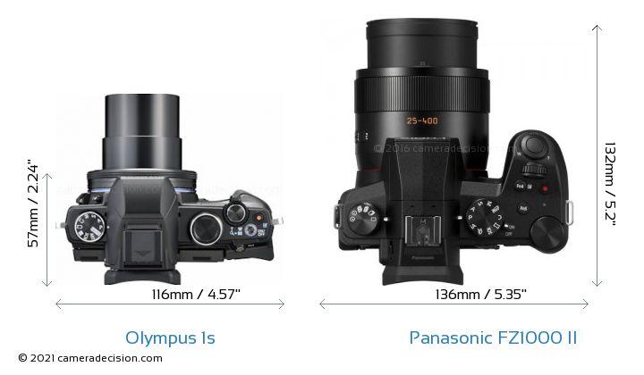 Olympus 1s vs Panasonic FZ1000 II Camera Size Comparison - Top View