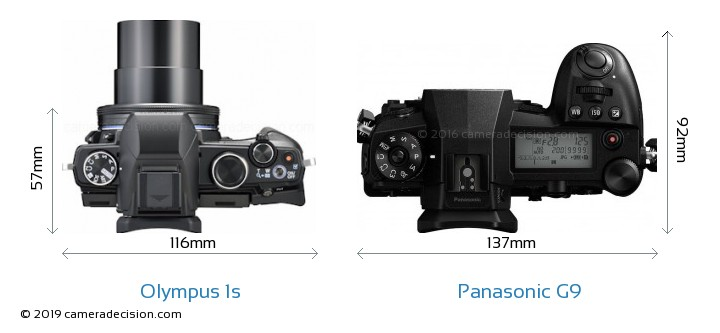 Olympus 1s vs Panasonic G9 Camera Size Comparison - Top View