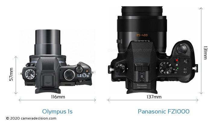 Olympus 1s vs Panasonic FZ1000 Camera Size Comparison - Top View