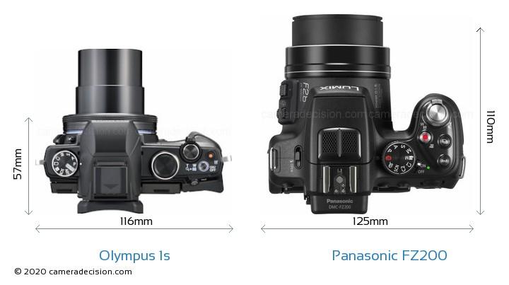 Olympus 1s vs Panasonic FZ200 Camera Size Comparison - Top View