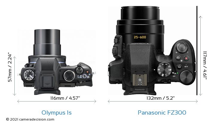 Olympus 1s vs Panasonic FZ300 Camera Size Comparison - Top View
