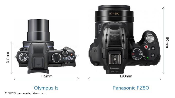 Olympus 1s vs Panasonic FZ80 Camera Size Comparison - Top View