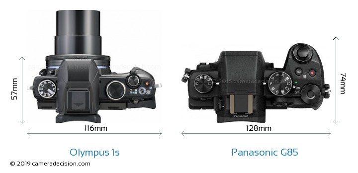 Olympus 1s vs Panasonic G85 Camera Size Comparison - Top View
