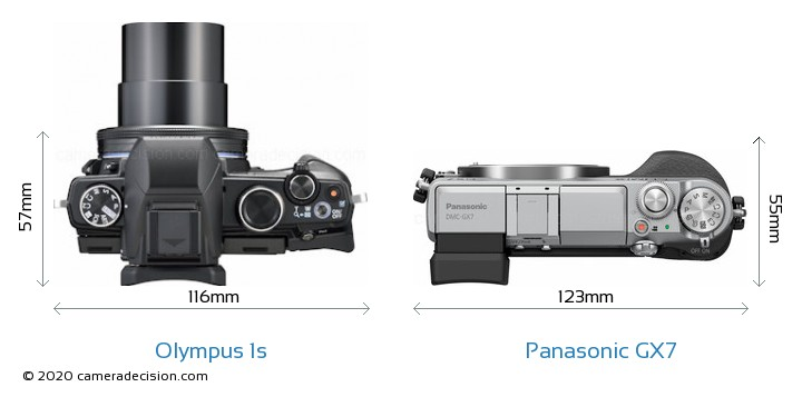 Olympus 1s vs Panasonic GX7 Camera Size Comparison - Top View