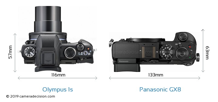 Olympus 1s vs Panasonic GX8 Camera Size Comparison - Top View