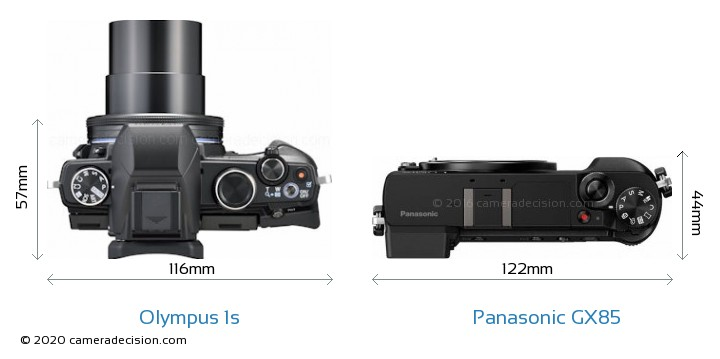 Olympus 1s vs Panasonic GX85 Camera Size Comparison - Top View
