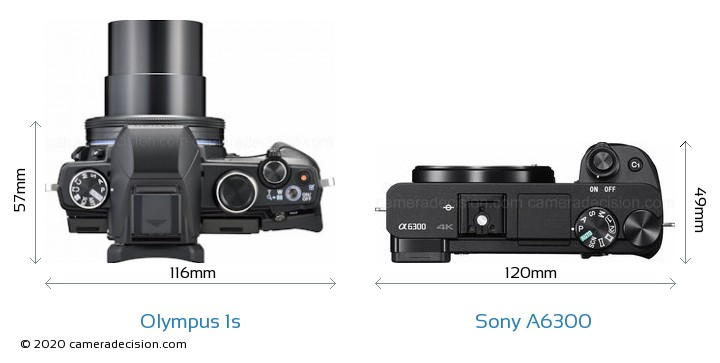 Olympus 1s vs Sony A6300 Camera Size Comparison - Top View