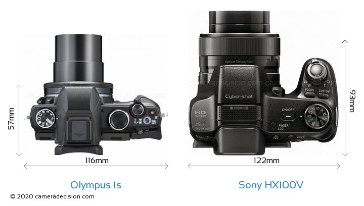 Olympus 1s vs Sony HX100V Camera Size Comparison - Top View