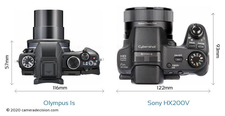Olympus 1s vs Sony HX200V Camera Size Comparison - Top View
