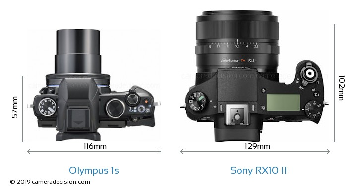 Olympus 1s vs Sony RX10 II Camera Size Comparison - Top View