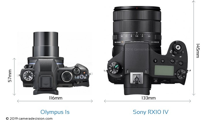 Olympus 1s vs Sony RX10 IV Camera Size Comparison - Top View