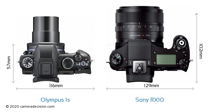 Olympus 1s vs Sony RX10 Camera Size Comparison - Top View