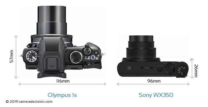 Olympus 1s vs Sony WX350 Camera Size Comparison - Top View