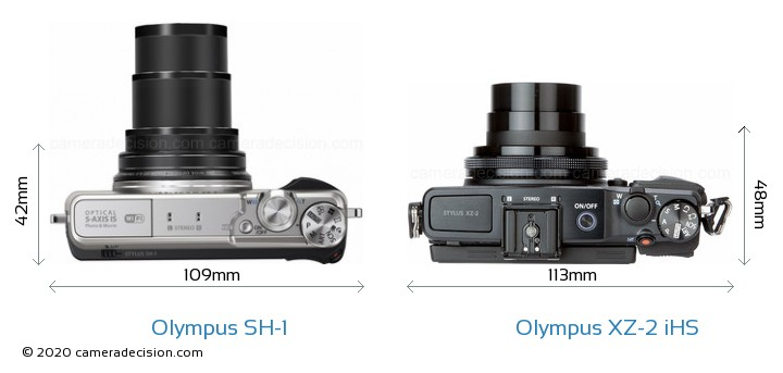 Olympus SH-1 vs Olympus XZ-2 iHS Camera Size Comparison - Top View