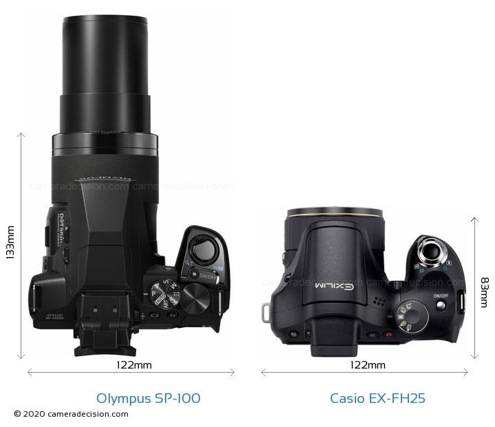Olympus SP-100 vs Casio EX-FH25 Camera Size Comparison - Top View
