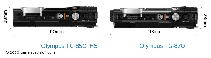 Olympus TG-850 iHS vs Olympus TG-870 Camera Size Comparison - Top View