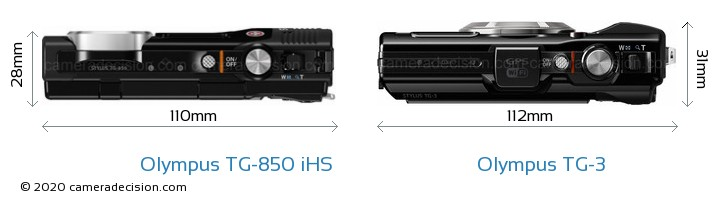 Olympus TG-850 iHS vs Olympus TG-3 Camera Size Comparison - Top View