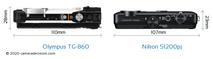 Olympus TG-860 vs Nikon S1200pj Camera Size Comparison - Top View