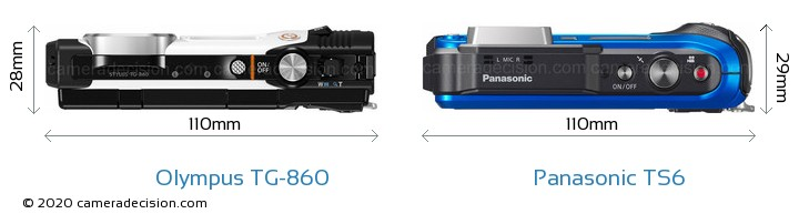 Olympus TG-860 vs Panasonic TS6 Camera Size Comparison - Top View